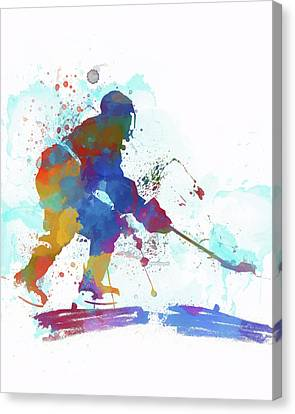 Hockey Canvas Print - Hockey Player Paint Splatter by Dan Sproul