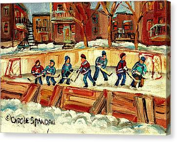 Montreal Winter Scenes Canvas Print - Hockey Rinks In Montreal by Carole Spandau