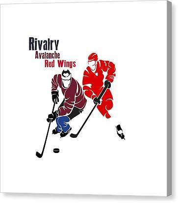Hockey Rivalry Avalanche Red Wings Shirt Canvas Print by Joe Hamilton