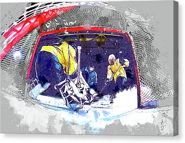 Hockey Score Attempt From The Ice Level Canvas Print by Elaine Plesser