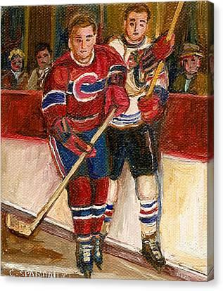 Hockey Stars At The Forum Canvas Print by Carole Spandau
