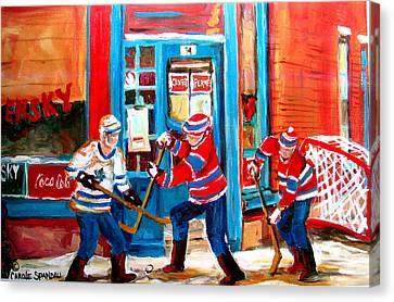 Hockey Sticks In Action Canvas Print by Carole Spandau