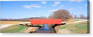 Landscape Of Bridges Canvas Print - Hogback Covered Bridge, Madison County by Panoramic Images