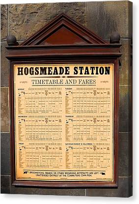 Canvas Print featuring the photograph Hogsmeade Station Timetable by Juergen Weiss
