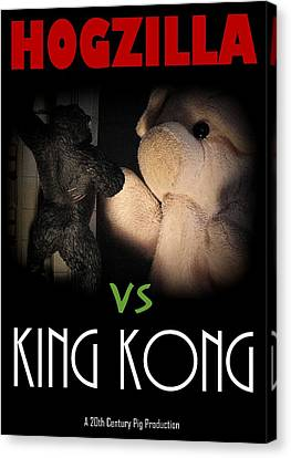 Hogzilla Vs King Kong Canvas Print by Piggy