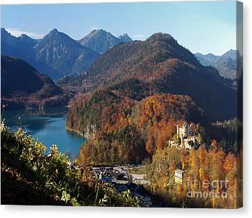 Hohenschwangau Castle And Alpsee In Bavaria Canvas Print by Rudi Prott