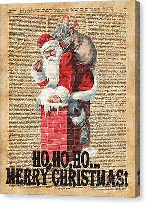 Ho,ho Merry Chirstmas Santa Claus In Chimney Dictionary Art Canvas Print by Jacob Kuch