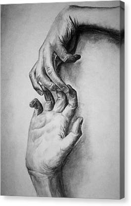 Canvas Print featuring the drawing Hold On by Rachel Hames