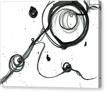 Hold On - Revolving Life Collection - Modern Abstract Black Ink Artwork Canvas Print
