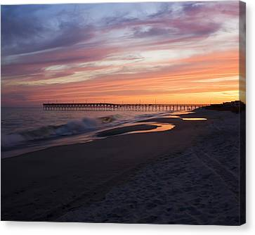 Canvas Print featuring the photograph Holden Beach Pier by Alan Raasch