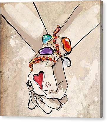 Friends Forever Canvas Print - Holding Hands by Jodi Pedri
