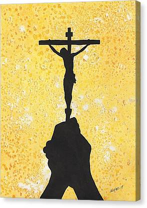 Holding The Holy Cross Canvas Print