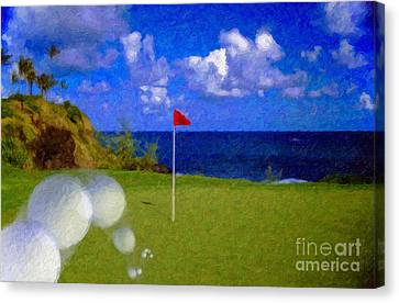 Canvas Print featuring the photograph Fantastic 18th Green by David Zanzinger