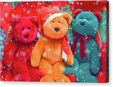 Canvas Print featuring the photograph Holiday Bears by Diane Alexander