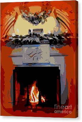Holiday Fireplace #1 Canvas Print by Ed Weidman