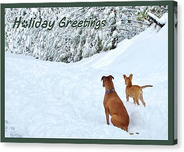 Holiday Greeters Canvas Print by Wendy Rickwalt