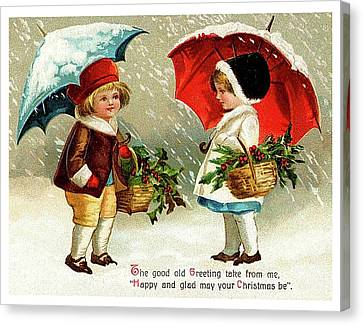 Friend Holiday Card Canvas Print - Holiday Greetings From Two Friends by Long Shot