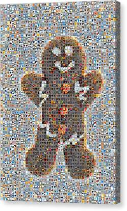 Holiday Hearts Gingerbread Man Canvas Print by Boy Sees Hearts