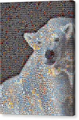 Holiday Hearts Polar Bear Number Two Canvas Print