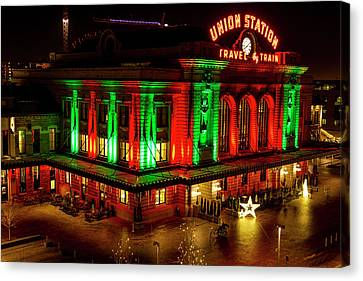 Holiday Lights At Union Station Denver Canvas Print by Teri Virbickis