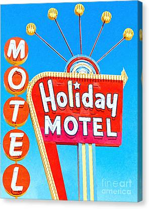 Holiday Motel Las Vegas Canvas Print by Wingsdomain Art and Photography