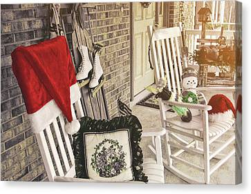 Holiday Porch Canvas Print by JAMART Photography