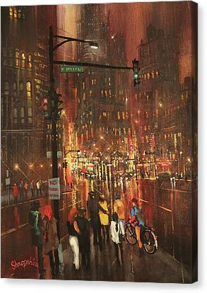 Holiday Shoppers Canvas Print