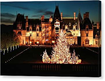 Asheville Canvas Print - Holidays At Biltmore House by Carol R Montoya
