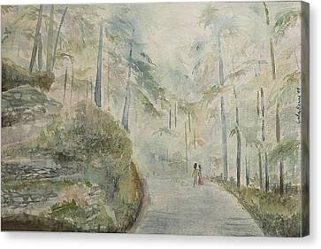 Canvas Print featuring the painting Holidays In Shimla by Geeta Biswas