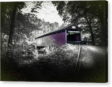Vintage River Scenes Canvas Print - Hollingshead Bridge by Marvin Spates