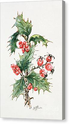 Holly And Rosehips Canvas Print by Nell Hill
