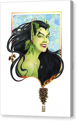 Holly Elf Canvas Print by Melissa A Benson