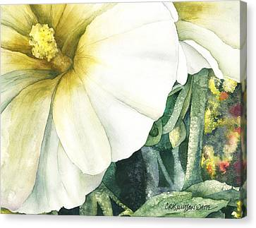 Holly Hock Canvas Print by Casey Rasmussen White