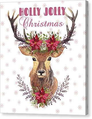 Canvas Print featuring the painting Holly Jolly Christmas Watercolor Deer Head Poinsettia Flowers by Georgeta Blanaru