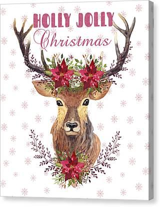 Holly Jolly Christmas Watercolor Deer Head Poinsettia Flowers Canvas Print