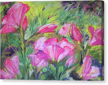 Canvas Print featuring the painting Hollyhock Breeze by Susan Herbst