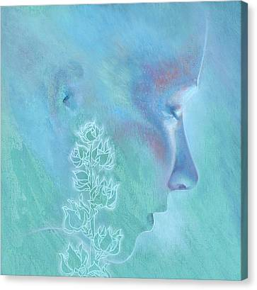 Canvas Print featuring the painting Hollyhock by Ragen Mendenhall