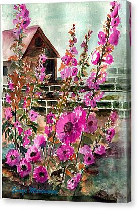 Hollyhocks And Barn Canvas Print by George Markiewicz