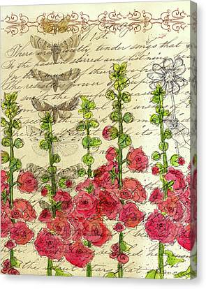 Canvas Print featuring the drawing Hollyhocks And Butterflies  by Cathie Richardson