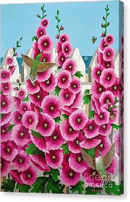Canvas Print featuring the painting Hollyhocks And Humming Birds by Katherine Young-Beck
