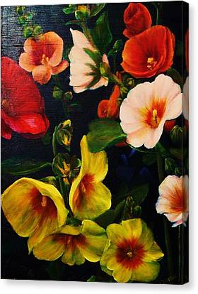 Hollyhocks Canvas Print by Dana Redfern