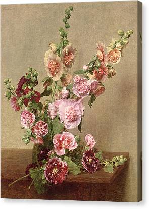 Hollyhocks Canvas Print by Ignace Henri Jean Fantin Latour