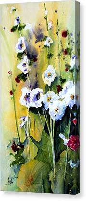 Canvas Print featuring the painting Hollyhocks by Marti Green