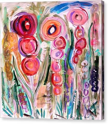 Hollyhocks Of The Garden Canvas Print by Mary Carol Williams