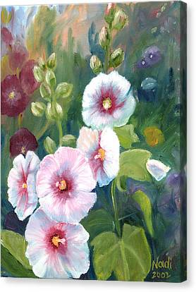 Canvas Print featuring the painting Hollyhocks by Renate Nadi Wesley