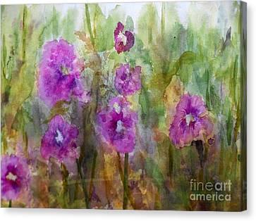 Hollyhocks Canvas Print by Vicki  Housel
