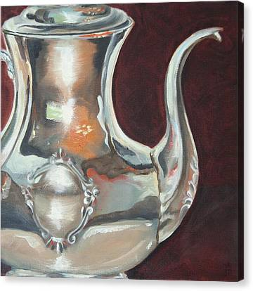 Holly's Sterling Coffee Pot Canvas Print by Amy Higgins