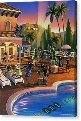 Ant Canvas Print - Hollywood Ants Cocktail Party by Robin Moline