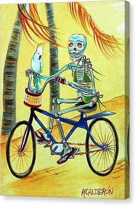 Hollywood Bicycle Woman Canvas Print by Heather Calderon