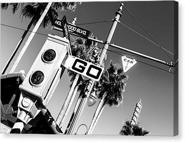 Hollywood Blvd Bw Canvas Print